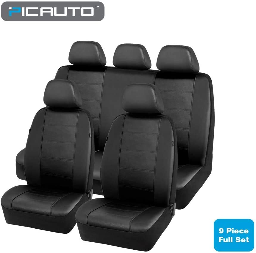 PIC AUTO Car Seat Covers Set for Auto, Truck, Van, SUV - PU Leather, Airbag Compatible, Universal Fit (Black 9-Pieces)