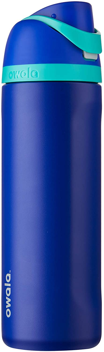 Owala FreeSip Insulated Stainless-Steel Water Bottle with Locking Push-Button Lid, 24-Ounce, Smooshed Blueberry