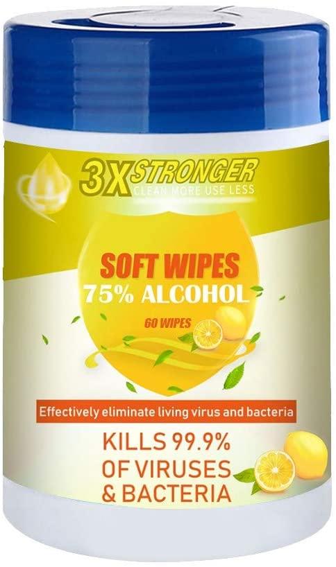 POLUEREIS Desinfección ωet ωιρes, Portable Non-Woven Fabric 60 Sheets ωιρes/Bucket, 75 Álcool 𝐒terillizatioñ 𝐀ntisèptiic Household Cleaning Wipёs