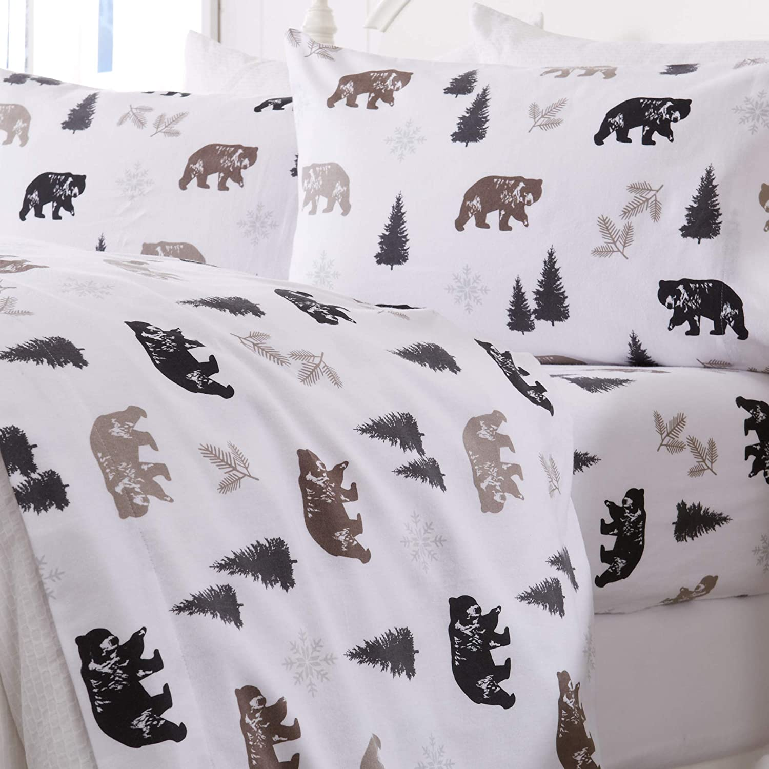 Great Bay Home Extra Soft Printed 100% Turkish Cotton Flannel Sheet Set. Warm, Cozy, Luxury Winter Bed Sheets. Lakeview Collection (King, Rustic Bear)