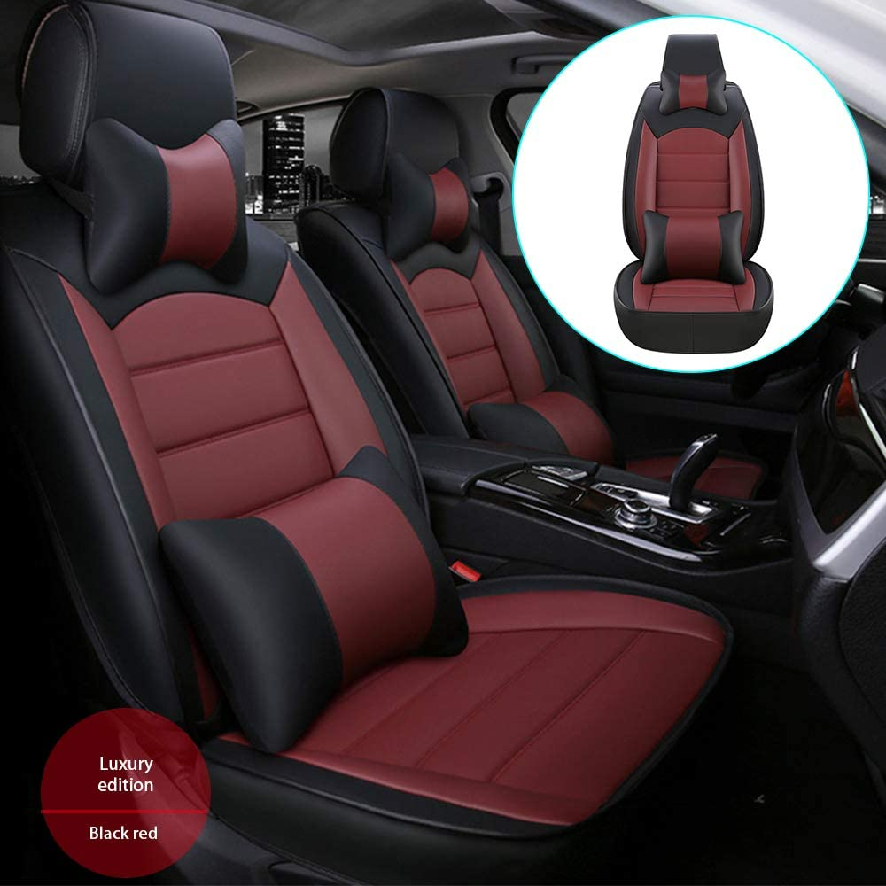 DBL Car Front Seat Cover for Audi Q5 (Airbag Compatible) Luxury PU Leatherette Car Seat Cushions Protector Black & Red