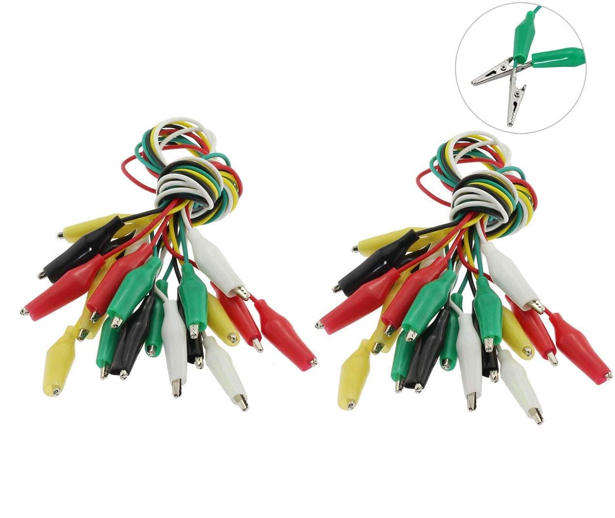 ZRM&E 20PCS 50cm Alligator Clip Wire M Size Double-Ended Crocodile Clip Test Jumper Wire Test Lead Line 5 Colors for Electrical DIY Test Cable