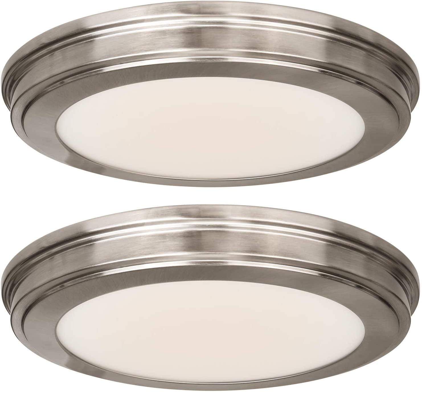 13 inch LED Flush Mount Ceiling Light, 180W Incandescent Equivalent, 3000K/4000K/5000K Switchable 1365LM, CRI90+, Brushed Nickel Ceiling Lamp Surface Mount for Kitchen Bathroom Bedroom-2 Pack
