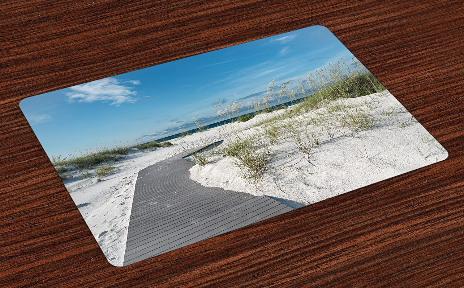 Lunarable Beach Place Mats Set of 4, Rustic Beach Pathway Heads to The Water in Florida Santa Rosa Island Summer Travel, Washable Fabric Placemats for Dining Room Kitchen Table Decor, Cream Blue