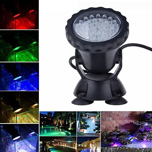 SecurityIng Pond Light, 36 LED Waterproof Underwater Submersible Lights Multi-Color Spotlight for Garden Fountain Fish Tank Pool, Control Not Included(1 Pack)