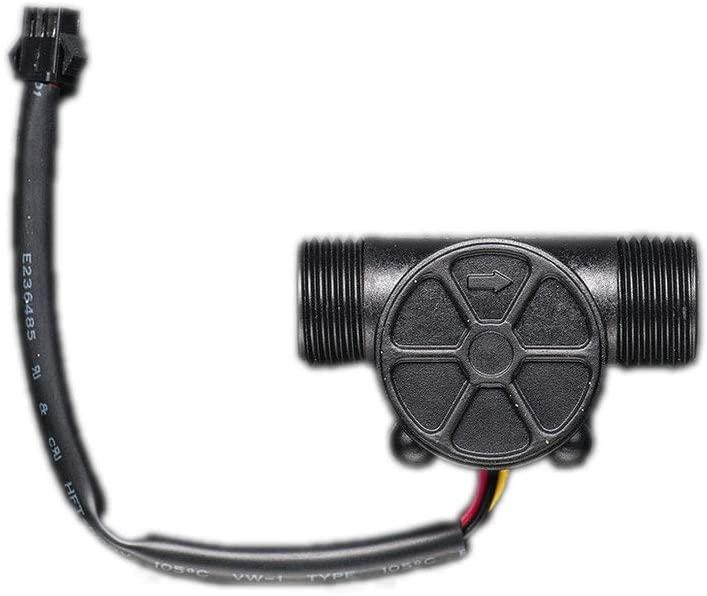 Uniquers Liquid Flow Meter Water Flow Hall Effect Sensor Switch Flowmeter Counter- Plastic 1/2