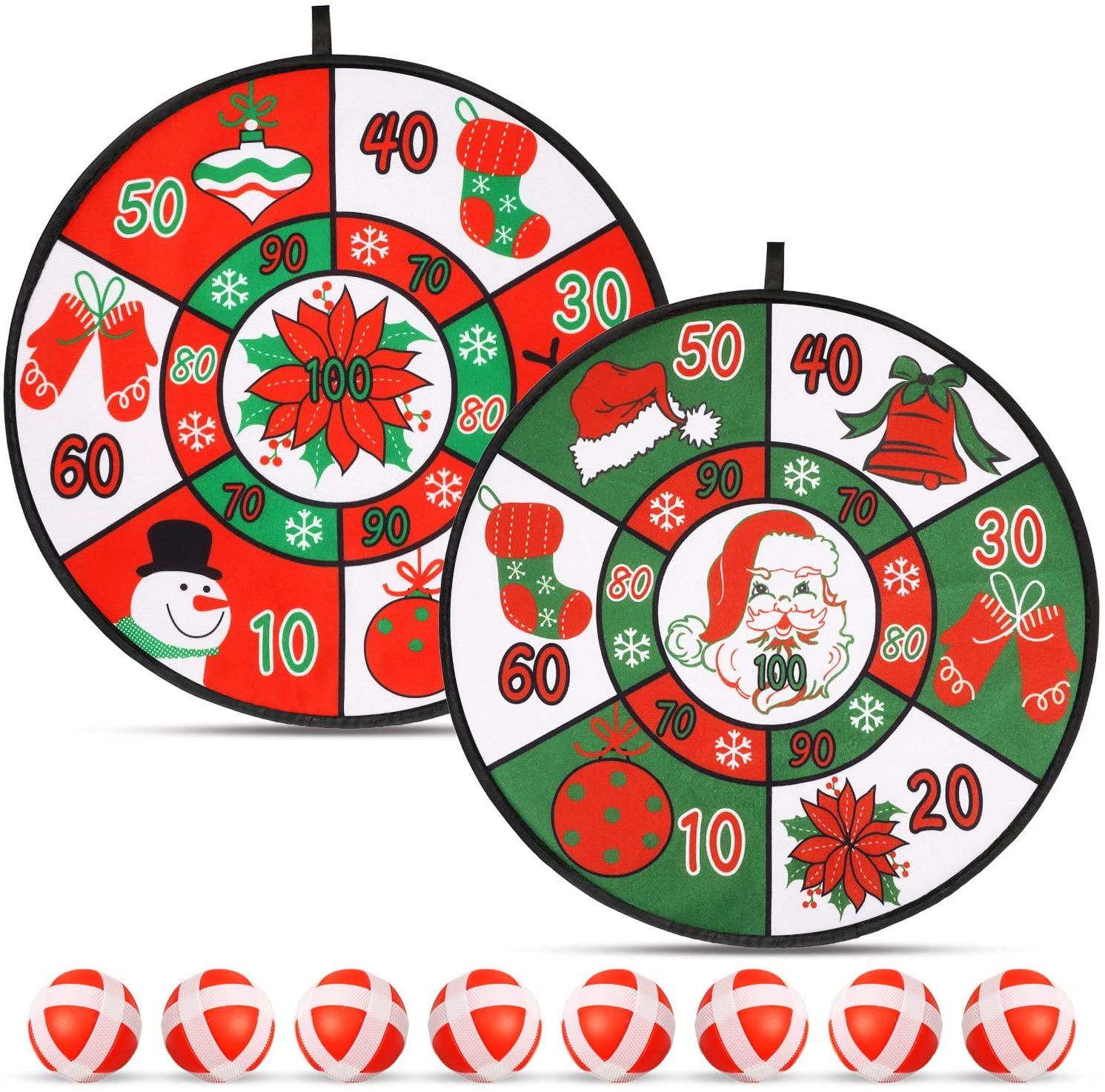Christmas Dart Board Sticky Balls Toys Games Safe Classic Dartboard Set for Boys Girls, 2 Dart Board and 8 Balls