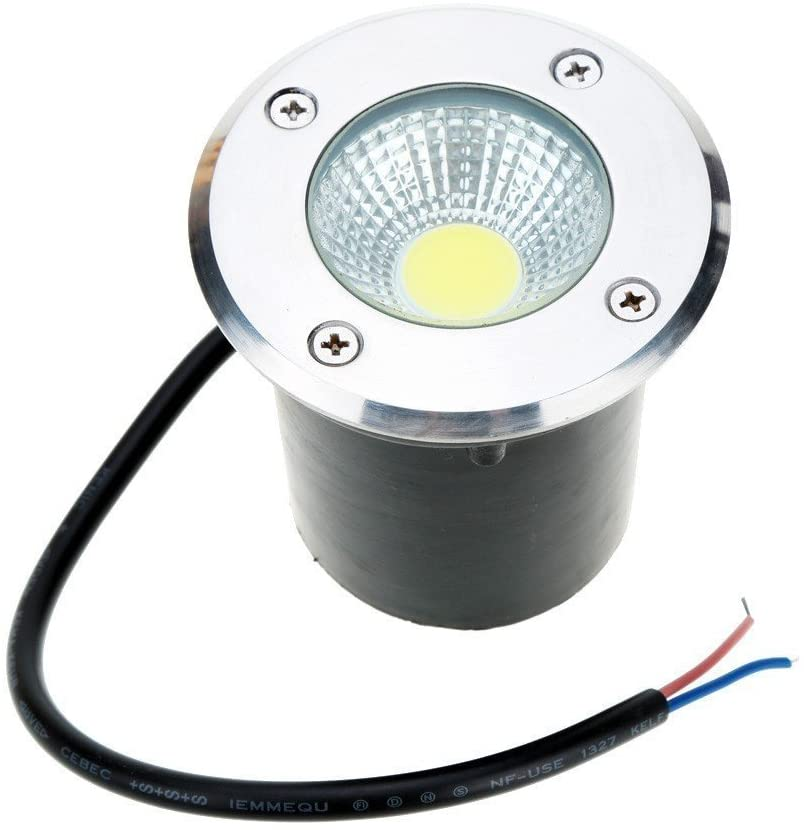 Onerbuy 12V LED COB Underground Path Light Low Voltage Landscape In-ground Lights Outdoor Decorative Spotlight for Yard, Garden, Driveway, Deck, Patio, IP67 Water-Resistant (Warm White, 5W)