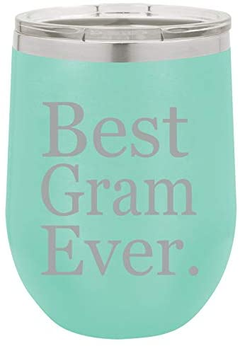 12 oz Double Wall Vacuum Insulated Stainless Steel Stemless Wine Tumbler Glass Coffee Travel Mug With Lid Best Gram Ever Grammy Grandma Grandmother (Teal)