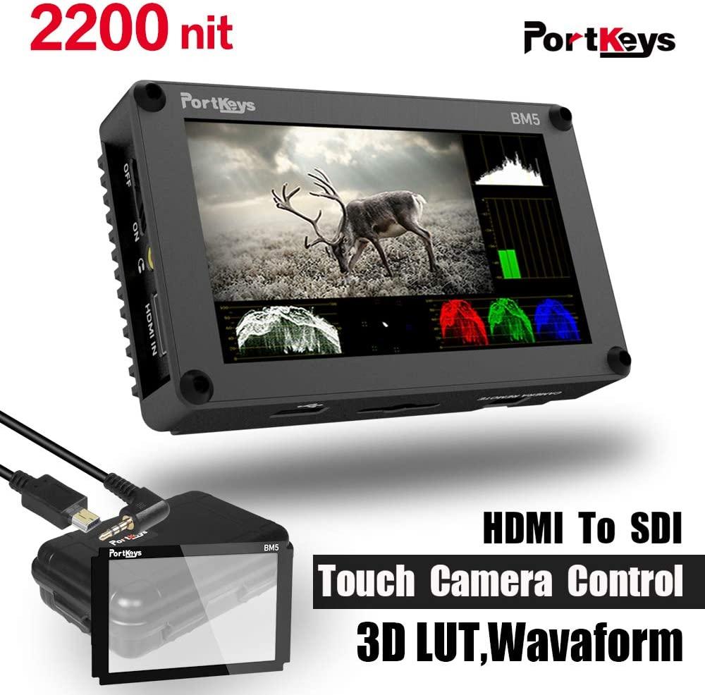 PortKeys BM5 5.2 Inch 2200nit 3G SDI/HDMI Touch Screen Monitor with 3D LUT,Wavaform,Camera Control Functions for Sony A9 A7R3 A7M3 A7R2 A7S2 A6000 A6300 A6400 A6500 RX100
