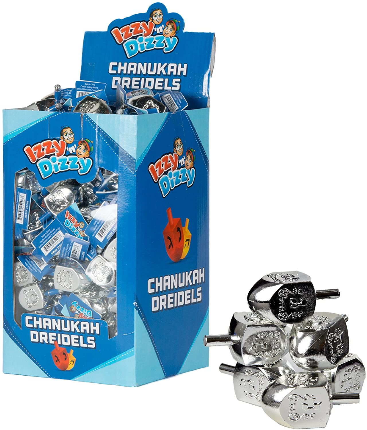 Izzy 'n' Dizzy 100 Small Dreidels - Silver - Classic Chanukah Spinning Draidel Game and Prize - Bulk Value Pack Price for 4