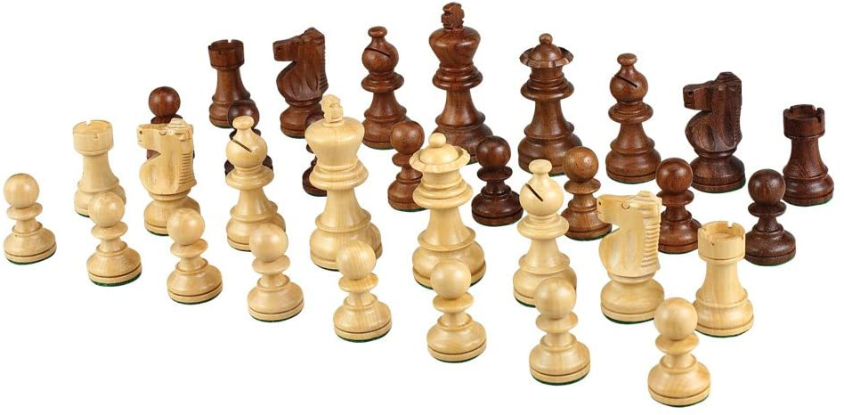 Morrigana Weighted Wood Chess Pieces, 3 Inch King, Pieces Only, No Board