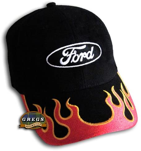 Gregs Automotive Oval Flames Logo Hat Cap Red Compatible with Ford - Bundle with Driving Style Decal