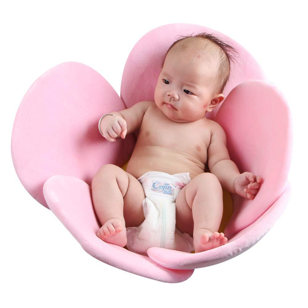 Spring Fever Baby Kids Newborn Infant Sun Flower Petal Folding Portable Shower Seat Bathtub Mat Cushion Pad Pink