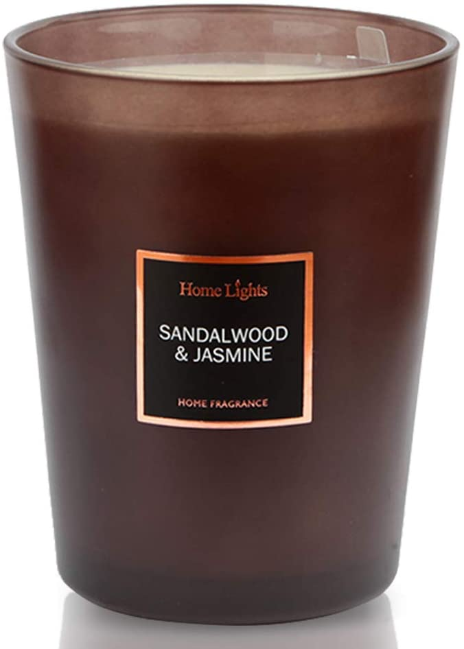 HomeLights Scented Candles   Large Jar Candle - 33.3 Oz. Natural Soy Aromatherapy Candles   60+ Hour Burn Time with 3 Cotton Wicks, Home Decorative Fragrance Candles Gift - Sandalwood Jasmine