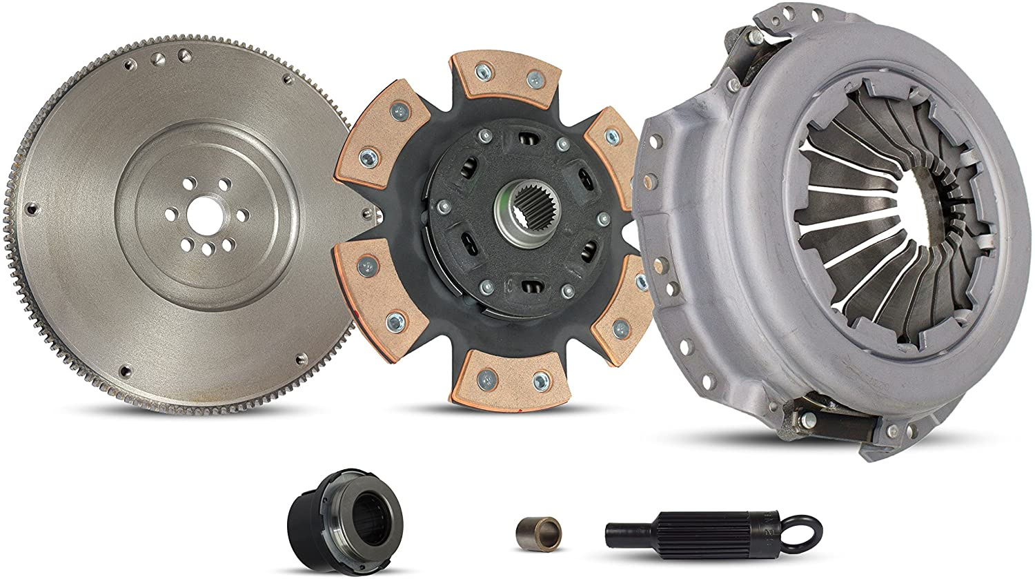Clutch Kit With Flywheel Compatible With S10 HOMBRE SONOMA BASE LS XTREME SL SLS SLE XS 1996-2001 2.2L L4 GAS OHV Naturally Aspirated (6-Puck Clutch Disc Stage 2)
