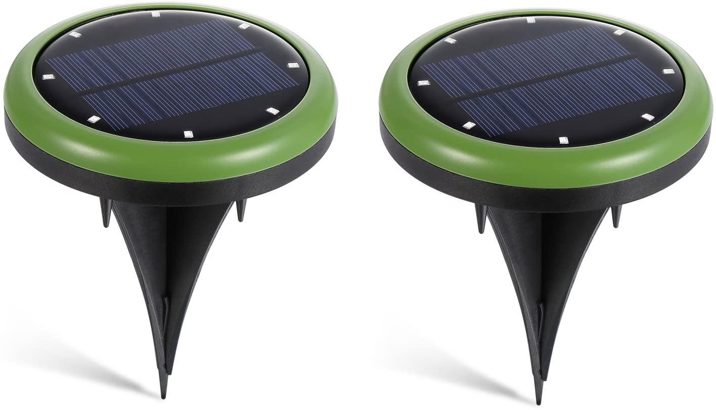 Gikfun 2 Modes 8 LED Ground Spot Solar Lights, Waterproof Outdoor Landscape Lighting for Lawn, Garden, Pathway, Yard, Driveway, 2 Packs GK2013