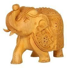 Zap Impex Hand-Carved Wooden Floral Collectible Elephant Sculpture Figure - Table & Home Decorations (5 Inch)