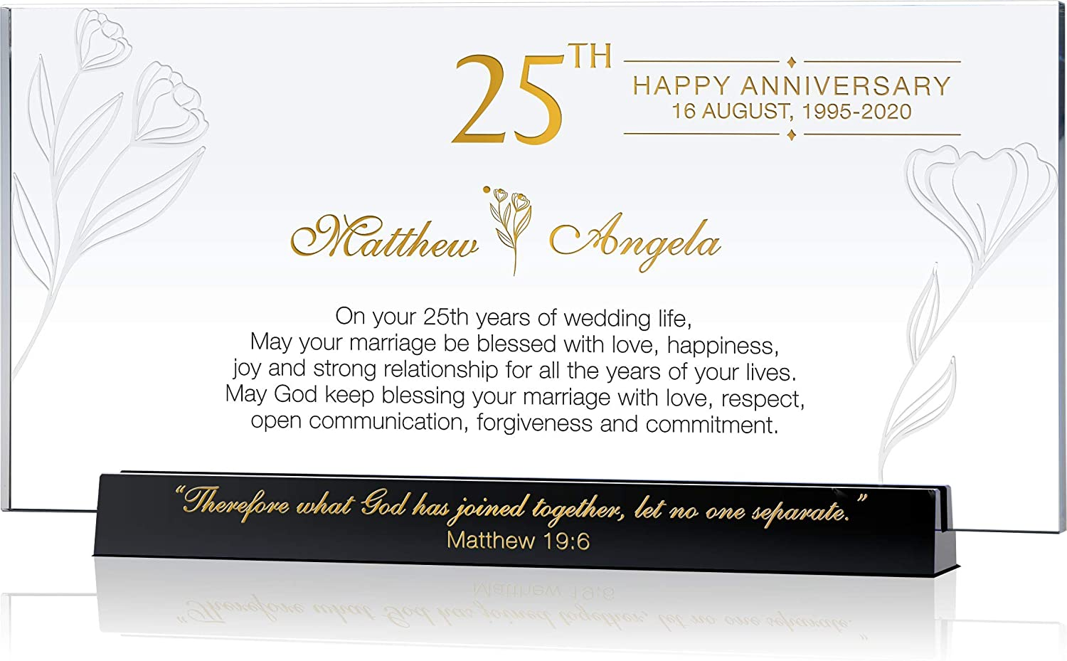 Personalized Religious Gift for 25th Wedding Anniversary for Parents, for Couple, Customized with Name & Date, Unique Gift from Children or Best Friend for Silver Wedding Anniversary (M - 8.5