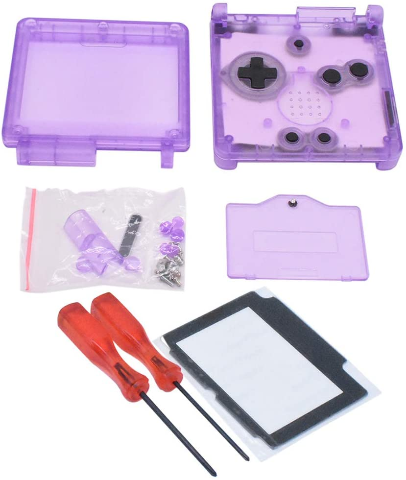 Xingsiyue Replacement Transparent Clear Purple Full Housing Shell Case with Lens&Screwdriver for Gameboy Advance SP GBA SP Console