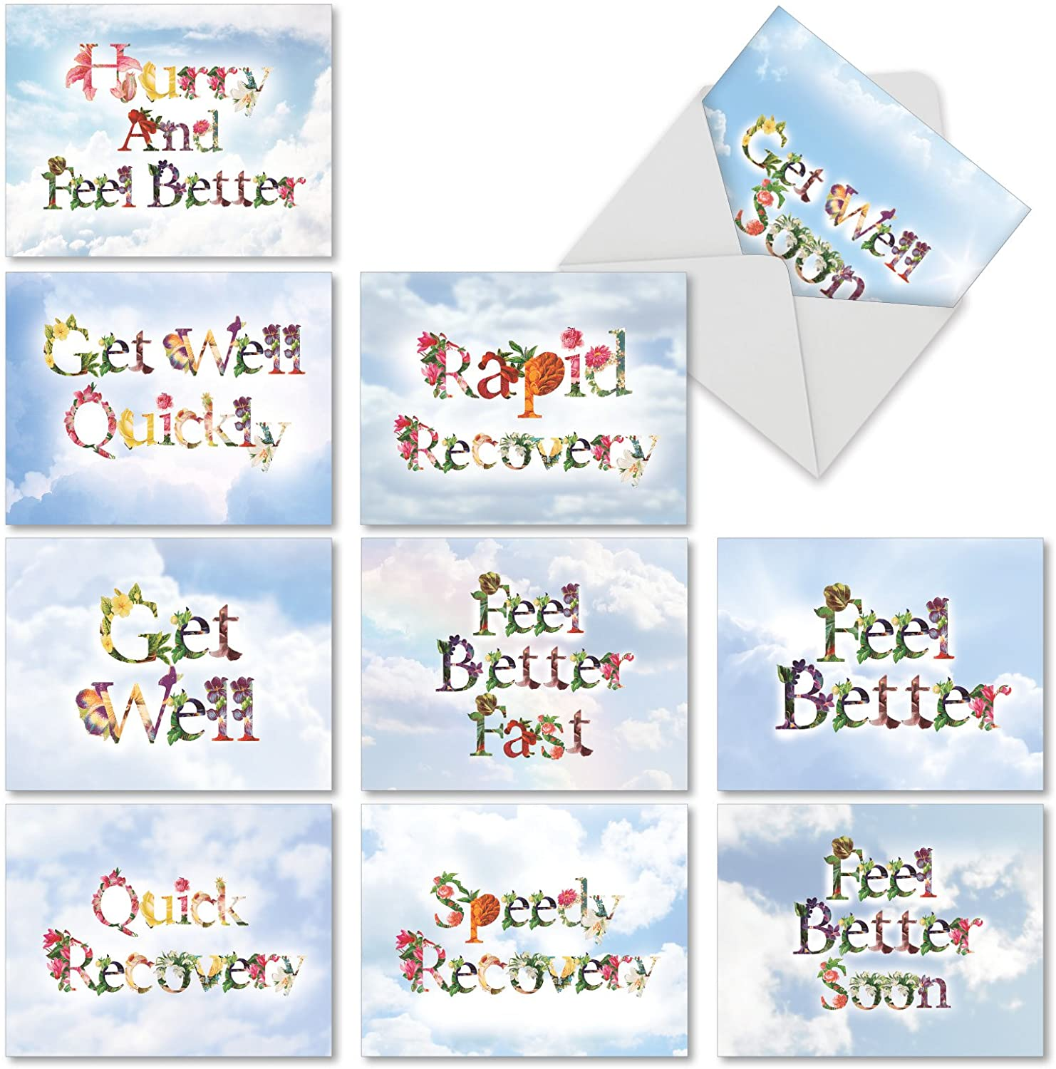 The Best Card Company - 10 Flower Get Well Soon Cards (4 x 5.12 Inch) - Floral Feel Better Assortment - Bunches of Well Wishes M2359GWG-B1x10