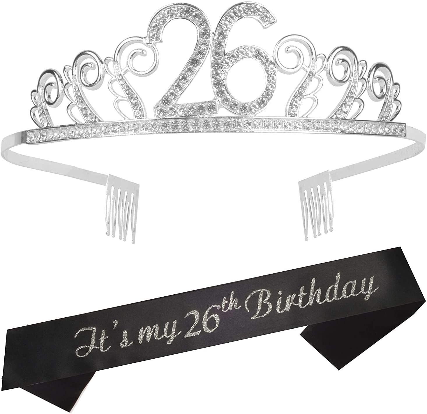 26th Birthday Gifts for Women, 26th Birthday Tiara and Sash, 26th Birthday Party Supplies, It's My 26th Birthday Sash and Tiara Birthday Crown for 26th Birthday Party Supplies and Decorations