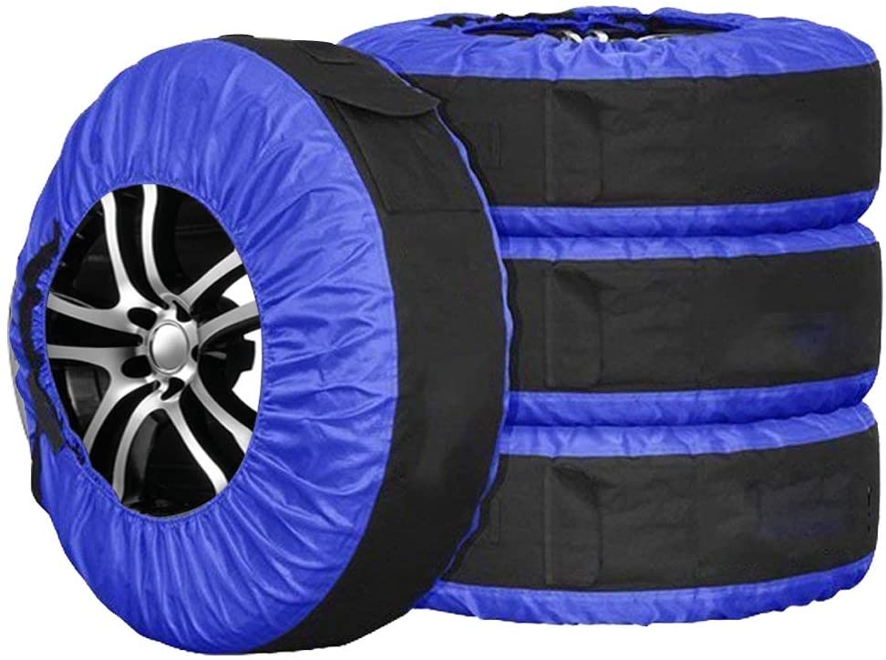 Durable Seasonal Tire Cover, Spare Tire Storage Bag with Carrying, Winter Tire Protection Cover 77cm Diameter Pack of 4