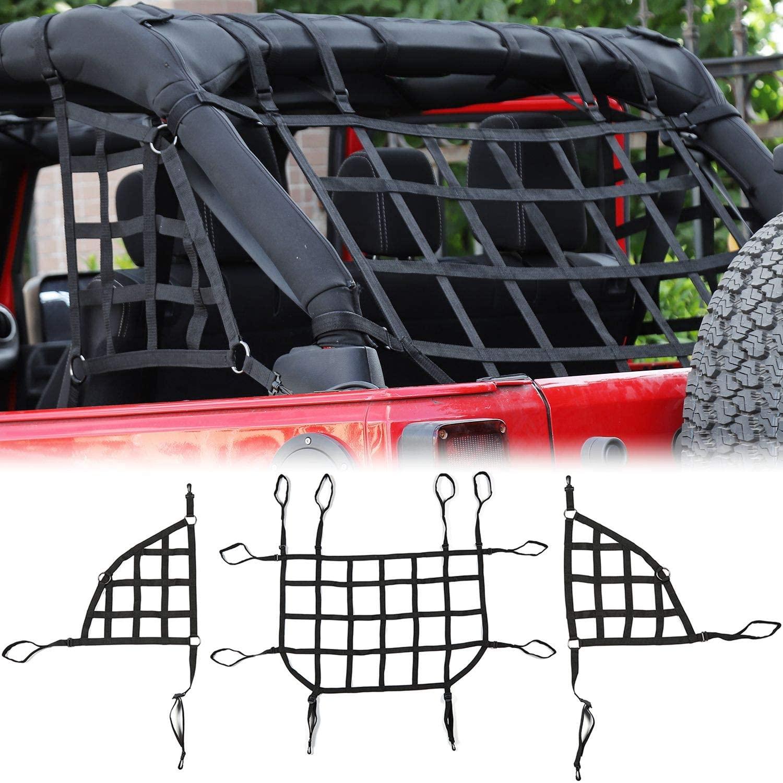 RT-TCZ Cargo Net, 3 Set Mesh Cargo Roof Net for Jeep Wrangler JK JKU 2007-2018 2 Door 4 Door (Black)
