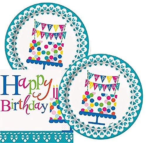 Birthday Party Plates & Napkins Serves 16 (Confetti)
