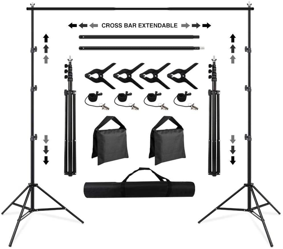 Background Stand, SEDGEWIN 10 x 6.5FT Adjustable Backdrop Stand Muslin Background Support System Stand for Photography (10 x 6.5FT)