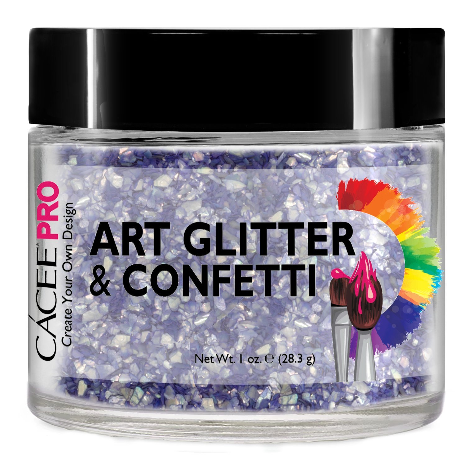 Nail Glitter 1 oz by Cacee Art & Confetti (Holographic, Silver, Gold, Chunk, Irridescent, Dust, Unicorn) for Nail Art, Cosmetic, Festivals, and Party (#225 Pastel Blue Crushed Shell)