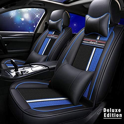 Luxury Leather Car Seat Covers Set for Lincoln MKX Breathable and Anti-Slip All-Season Seat Protector with Headrest and Backrest Pillow Fit 2 Front Row Black blue