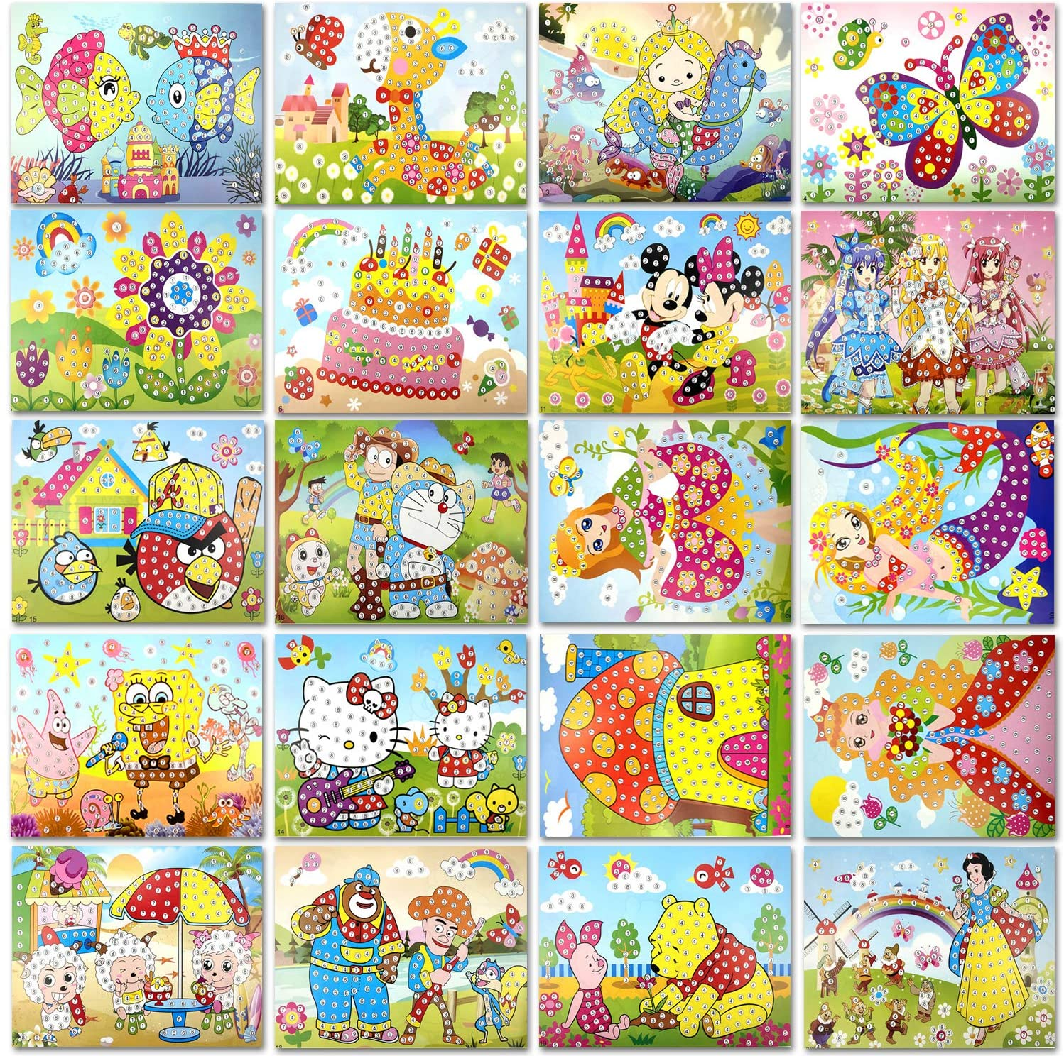 Xixiturtle Kids Diamond Painting Mosaic Sticker Art Craft for DIY Handmade Toys for Kids & Toddlers Fun Activities Postcards Gifts-20 Pcs Different Patterns