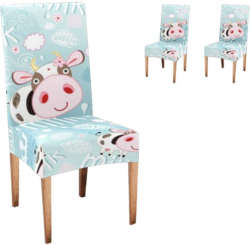 CUXWEOT Chair Covers for Dining Room Cute Milk Cow Seat Covers Slipcovers for Party Decor (Set of 2)