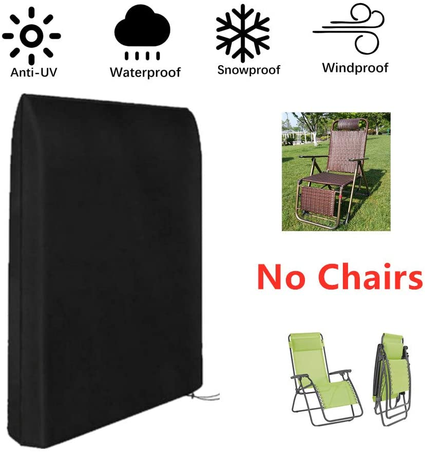 boyspringg Zero Gravity Folding Chairs Cover Waterproof Lawn Patio Furniture Covers All Weather Resistant 93x82cm(Black)