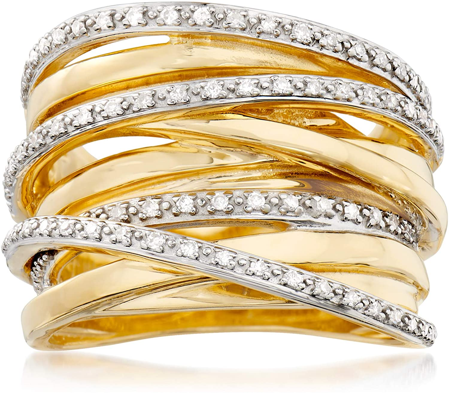 Ross-Simons 0.25 ct. t.w. Diamond Highway Ring in 18kt Gold Over Sterling Silver For Women