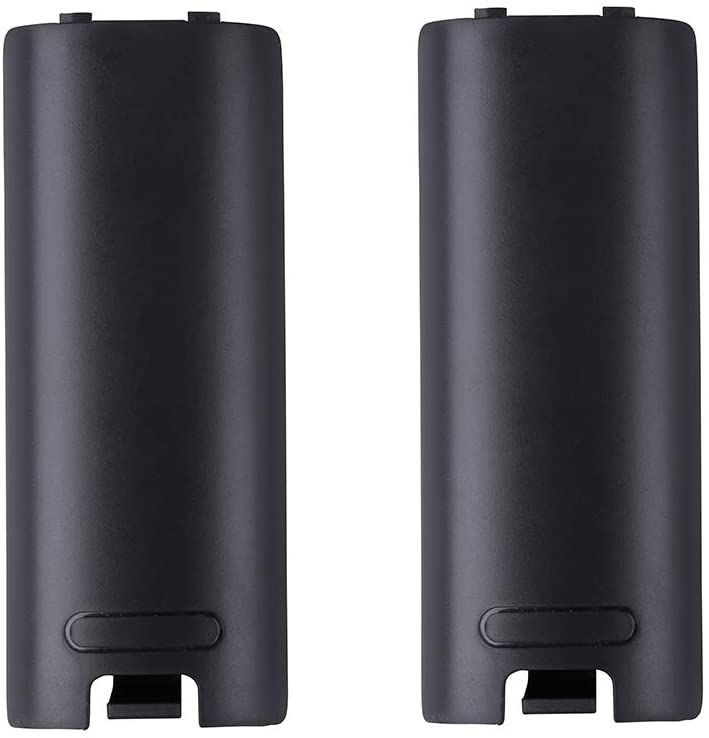 2pcs Battery Back Door Cover Shell Replacement for Nintendo Wii Remote Controller -Black