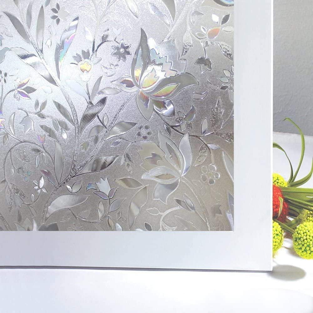 Niviy Window Film Privacy Decorative Glass Window Film Privacy Window Covers for Home Kitchen Bedroom Window Decor,23.6