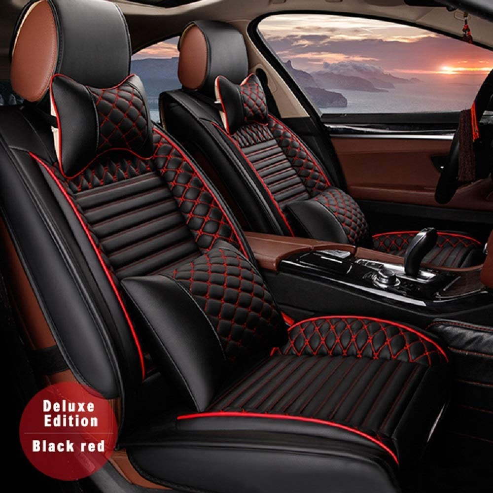 Surekit Custom Car Seat Cover for Ford F150 Edge Explorer Ecosport Escape Fiesta Focus Mondeo Mustang Kuga 5-Seat Car Seat Cushion Cover Full Set Needlework PU Leather Luxury Set (Black & red)