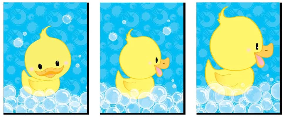 Big Dot of Happiness Ducky Duck - Rubber Ducky Nursery Wall Art and Kids Room Decorations - Gift Ideas - 7.5 x 10 inches - Set of 3 Prints
