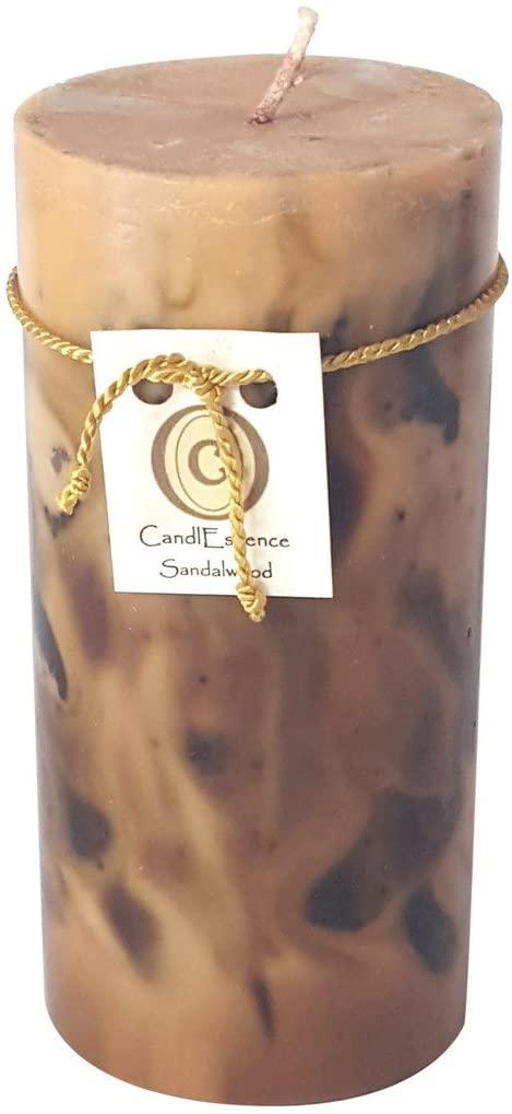 Handmade Scented Candle - Long Burning Pillar - Sandalwood Scent (Medium)