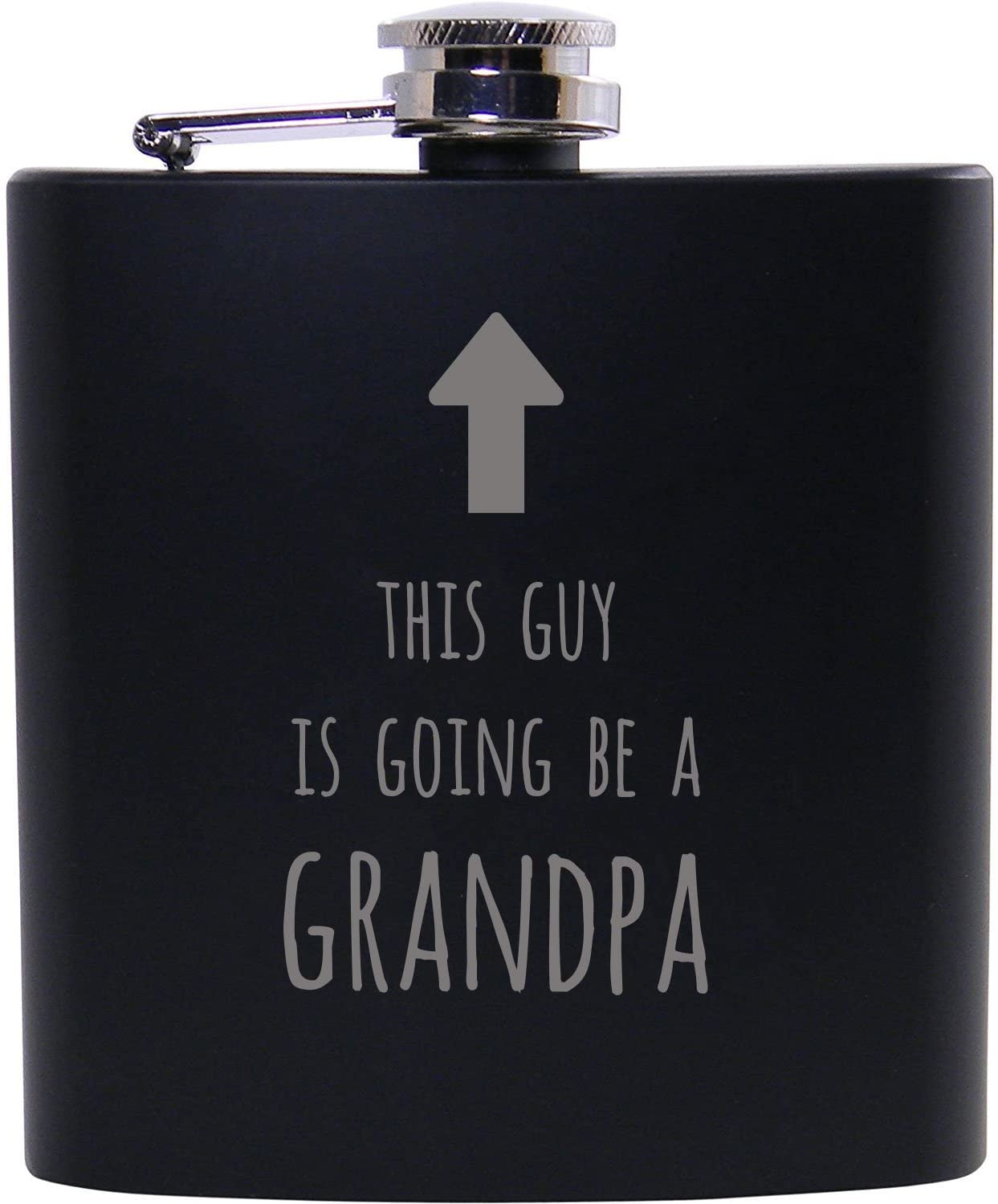 This guy is going to be a grandpa - 6oz Black Flask - Great Gift for Fathers Day, Birthday, or Christmas Gift for Dad, Grandpa, Grandfather