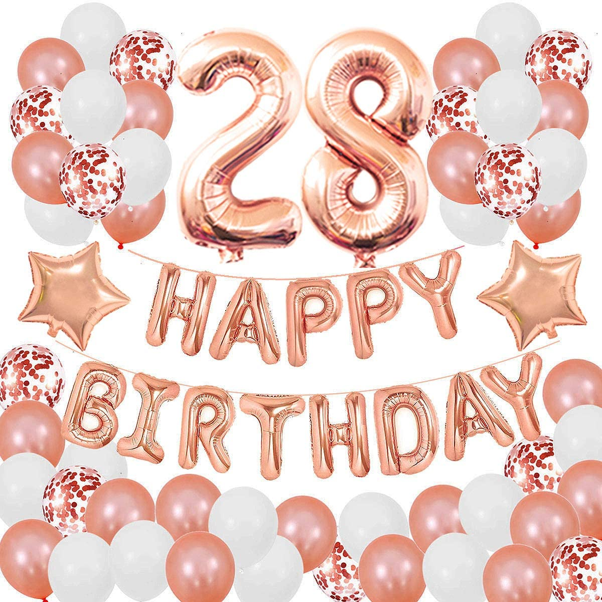 Succris 28TH Birthday Decorations for Girls and Women 28th Birthday Decorations 28 Years Old Birthday Party Supplies Happy Birthday Banner Rose Gold Confetti Balloons Rose Gold