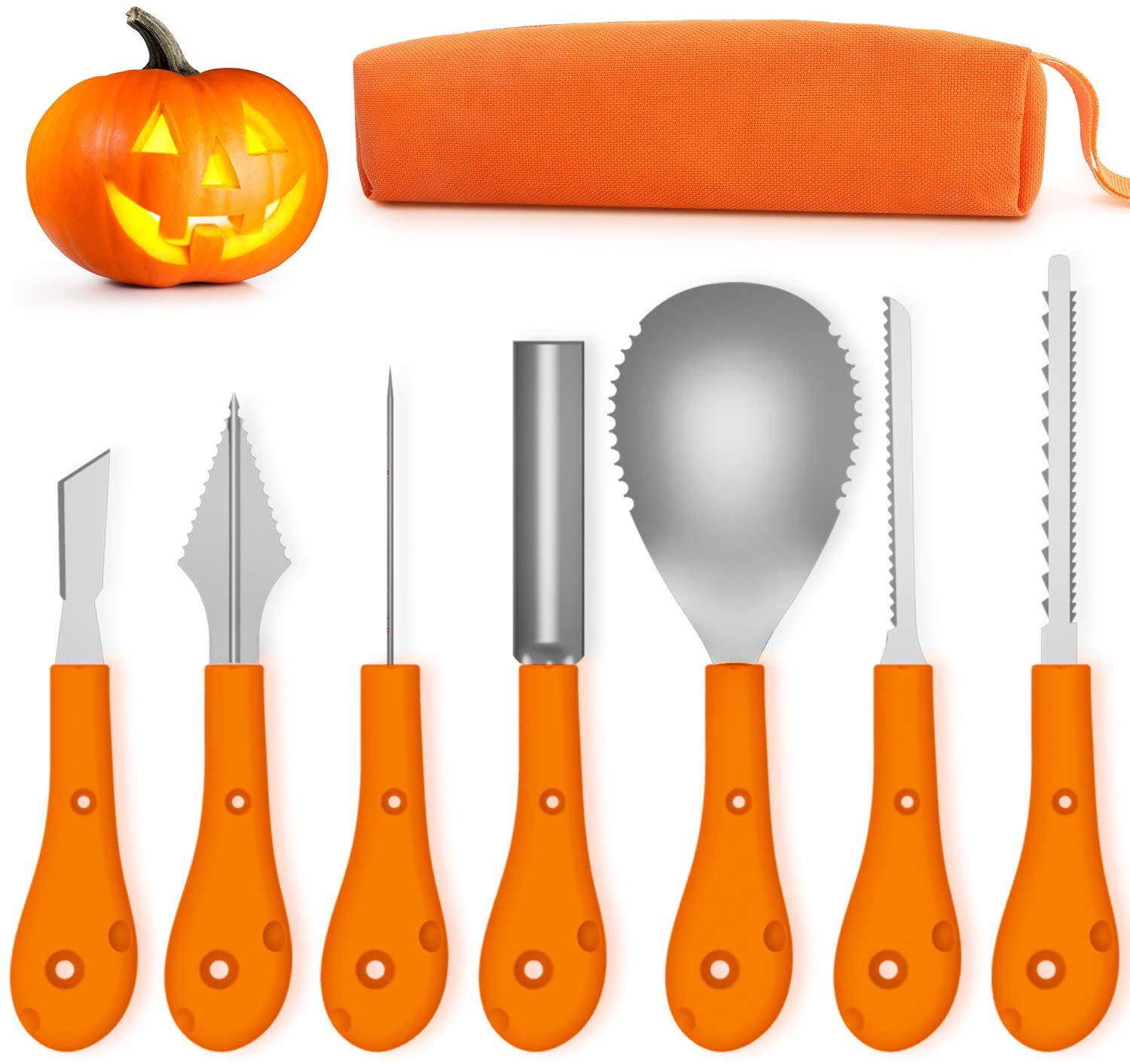 Greatever Halloween Pumpkin Carving Kit,Professional and Heavy Duty Stainless Steel Tools,Pumpkin Carving Set with Carrying Case (7Pcs)