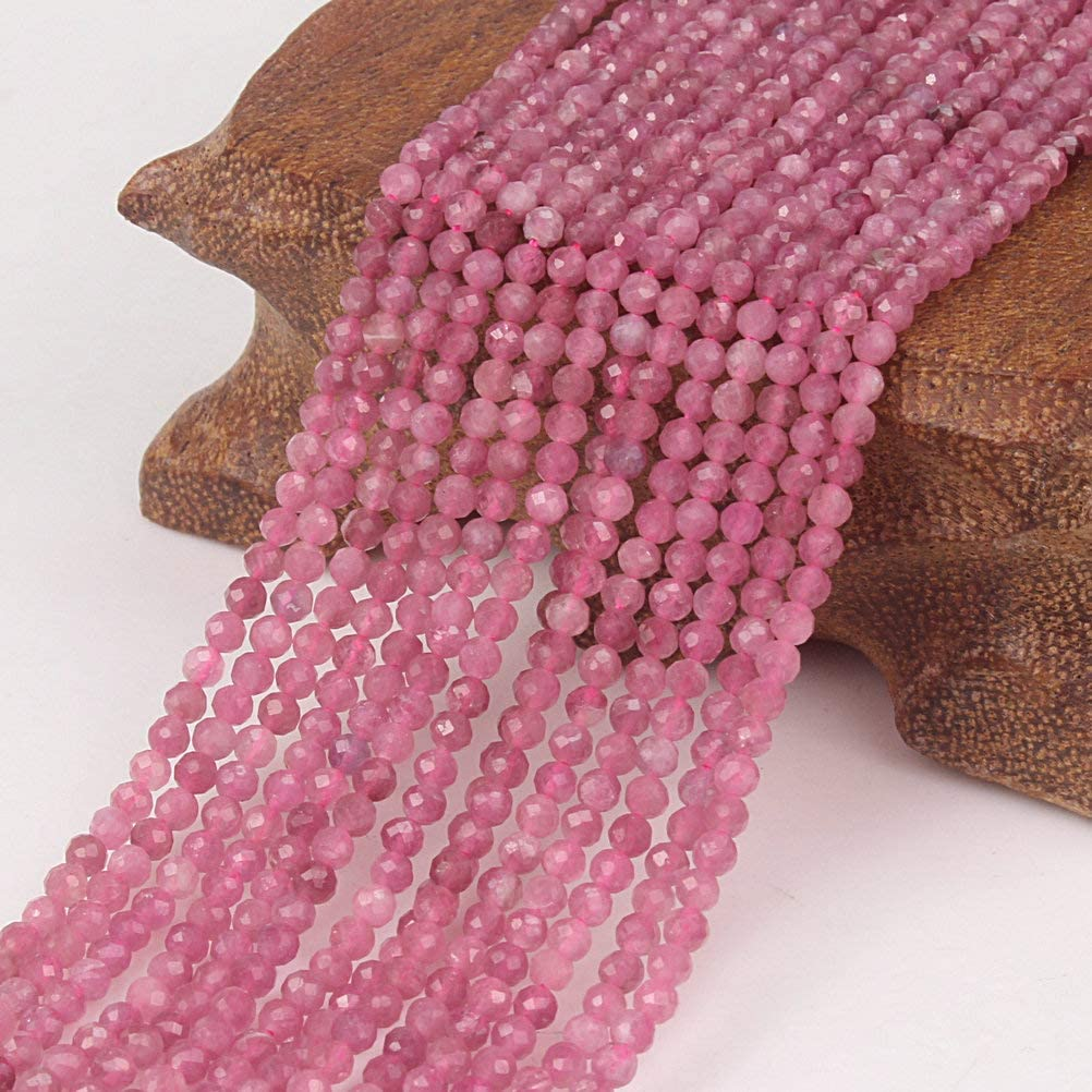 【Stone Wholesale】ABT.2mm Pink Tourmaline Natural Round Faceted Stone Beads Fine Gemstone Loose Beads DIY Accessories for Jewelry Necklace Bracelet Making