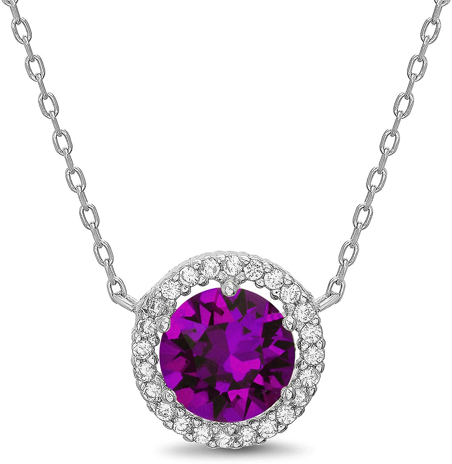 Devin Rose Rhodium Plated Sterling Silver Round Halo Pendant Necklace on 18 Inch Necklace for Women made with Swarovski Crystals Birthstone Colors