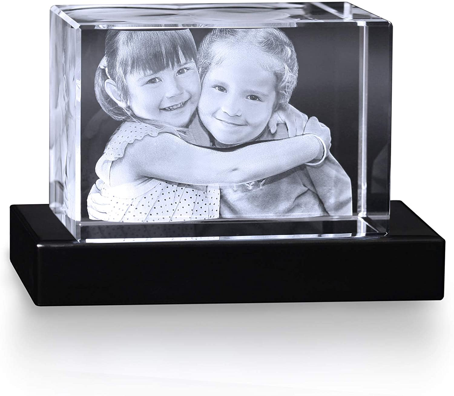Crystal Impressions – XL Rectangle Customized Crystal Photo Picture with 3D Laser Engraved Photo Inside Crystal to Personalize Your Picture As A Gift or Paperweight & Includes Free Lighted Base