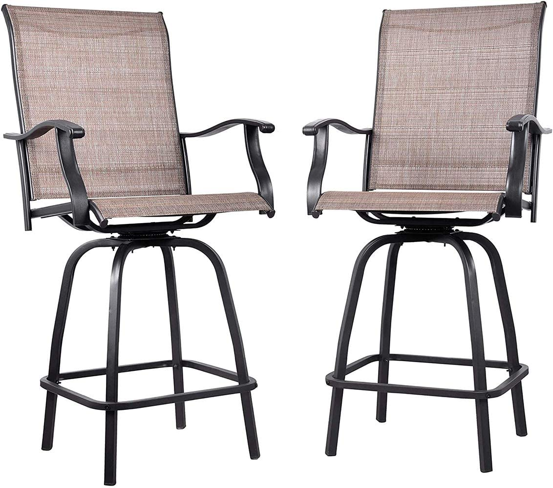 EMERIT Outdoor Swivel Bar Stools Bar Height Patio Chairs All-Weather Patio Furniture