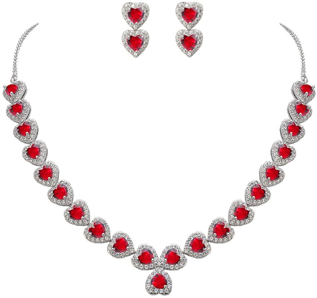 EVER FAITH Women's CZ Birthstone Romantic Love Heart Necklace Earrings Set Silver-Tone