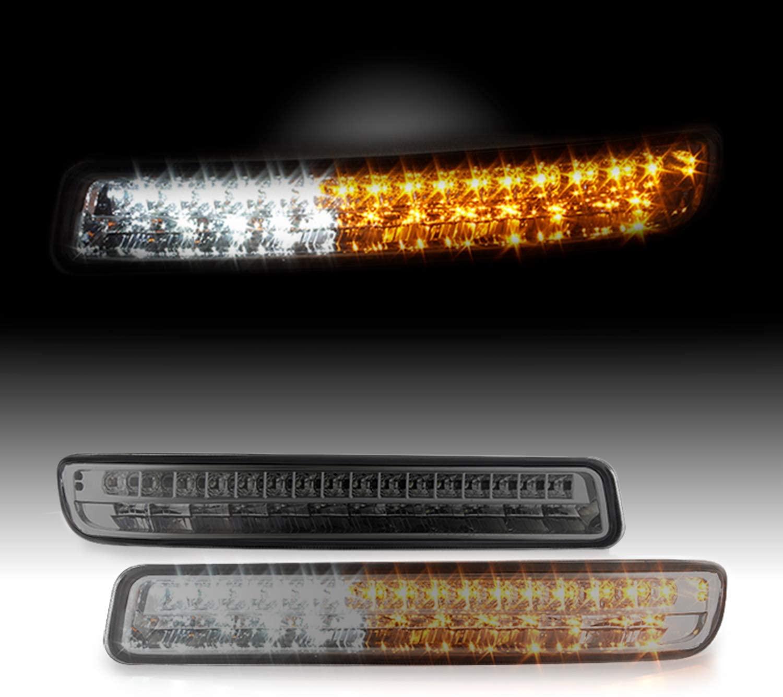 For GMC Sierra Yukon Yukon XL Pair of Smoked Lens LED Front Bumper Turn Signal Light Lamp Set